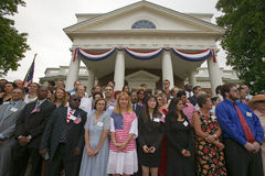 Independence Day Naturalization Ceremony. 76 new American citizens at Independence Day Naturalization Ceremony on July 4, 2005 at Thomas Jefferson's home Royalty Free Stock Images