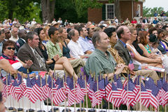 Independence Day Naturalization Ceremony. American flags for 76 new American citizens at Independence Day Naturalization Ceremony on July 4, 2005 at Thomas Stock Photos