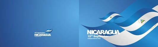 Independence Day Nicaragua flag ribbon two fold landscape background. National symbol landmark banner vector royalty free illustration