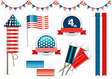 Independence day objects collection. On white background Royalty Free Stock Photo