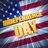 Independence Day over shining american flag Royalty Free Stock Photos