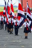 Independence day Parade, Costa Rica. Tilaran, Costa Rica - September 15 : School children marching in the town square in the independence day parade. September Stock Photo