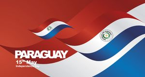Independence Day Paraguay flag ribbon landscape background. Independence Day Paraguay waving flag ribbon landscape background banner greeting card stock illustration