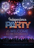 Independence day party poster with holiday firework Royalty Free Stock Photography