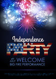 Independence day party poster with holiday firework. Independence day party poster with  firework Royalty Free Stock Images