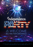 Independence day party poster with holiday firework. Independence day party poster with firework Stock Photo