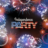 Independence day party poster with holiday firework. Independence day party poster with  firework Stock Image