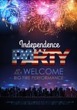 Independence day party poster with holiday firework. Independence day party poster with  firework Stock Photography