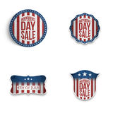 Independence Day patriotic Emblems and Shields Set Stock Photos