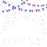 Independence day pennants with confetti royalty free illustration