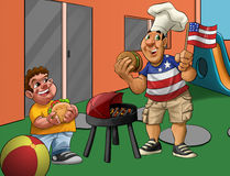 Independence day in the playground. Boy and father eating babecue in the independence day Royalty Free Stock Images