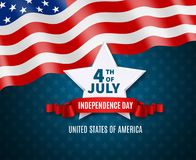 Independence Day Postcard. In colors of national america flag big white star and text 4th of july vector illustration Stock Photo