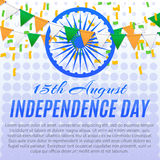 Independence day poster. India independence day background. Poster design for 15th August. Party flags and confetti. Template, vector, eps 10 Royalty Free Stock Photos