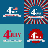Independence Day Poster Set Vector Illustration Stock Photos