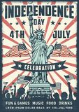 Independence day poster with statue stock illustration