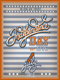 Independence Day Poster. Independence Day vintage poster with calligraphic handwritten header Stock Photos