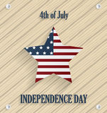 Independence day poster. Wooden background with star. 4th of July. Vector illustration Stock Illustration