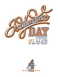 Independence Day Print. With calligraphic handwritten header Royalty Free Stock Images