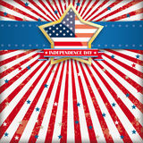 Independence Day Retro Banner Golden Star. Independence day retro flyer with blue banner and golden star Royalty Free Illustration