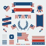 Independence Day ribbons, badges and decorative Stock Photos