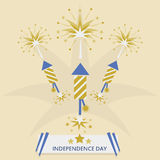 Independence Day with rocket fireworks. Golden flat design with message banner Stock Photography