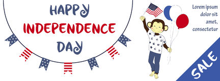 Independence day sale banner with cute monkey Stock Photography