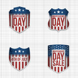Independence Day Sale festive Signs Set. Vector Illustration Royalty Free Stock Photo