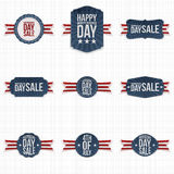 Independence Day Sale Labels with Ribbons Stock Images