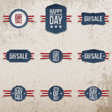 Independence Day Sale patriotic Emblems Set Royalty Free Stock Photos
