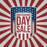 Independence Day Sale Shield with Text Stock Photo