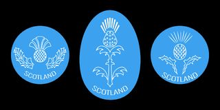 Independence Day of Scotland. 24 June. Round and oval emblem with a thistle. Black background. Independence Day of Scotland. 24 June. Concept of a national Stock Image
