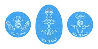 Independence Day of Scotland. 24 June. Round and oval emblem with a thistle. White background. Independence Day of Scotland. 24 June. Concept of a national Royalty Free Stock Photo