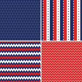 Independence day seamless backgrounds red white blue. Patriotic background patterns for Independence Day in red, white and blue with stars and stripes, chevron Vector Illustration