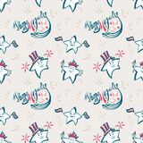 Independence Day seamless pattern. With lettering Vector Illustration