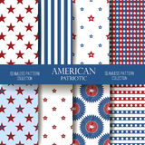 Independence Day seamless pattern vector set. Set of American backgrounds. Collection of seamless patterns in traditional red, blue and white colors. Happy Stock Illustration