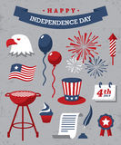 Independence day. Set of red, blue and white design elements for Independence Day of USA on gray background Stock Photos