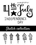 Independence day set. 4th July Independence day. Vector typography and sketch elements collection Stock Photography