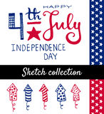 Independence day set. 4th July Independence day. Vector typography and sketch elements collection Royalty Free Stock Photo