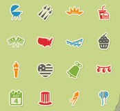 Independence day simply icons. Independence day simply symbols for web icons Royalty Free Stock Images