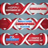 Independence day of Singapore, celebration, web banners. Set of web banners with 3d texts and national flag colors for ninth of August, Singapore Independence stock illustration