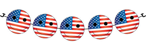 Independence day smiley face american emoticons. Best decorations for wour house, site and other Stock Photos