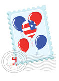Independence Day, stamp. Independence Day . Postage stamp with balloons vector illustration