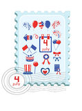 Independence Day, stamp. Independence Day . Postage stamp with icons vector illustration