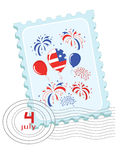 Independence Day, stamp. Independence Day . Postage stamp with balloons and firework royalty free illustration