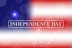Independence day stamp on blurred background. Fireworks. Vector. Illustartion Stock Photo