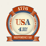 Independence Day stamp. Vintage Fourth of July Stamp, Round red and blue stamp on a light background with text 4th july 1776 USA stock illustration