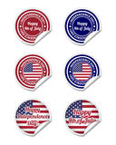 Independence day stickers. Set of Independence day stickers stock illustration