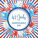 Independence day striped background with balloons and fireworks. Independence day striped background with round banner, balloons and rocket fireworks Stock Photography