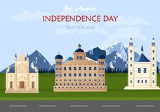 Independence day in Switzerland Vector. Swiss national day 1st August background illustrations. Independence day in Switzerland Vector. Swiss national day 1st stock illustration