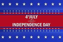 Free Independence Day Text Sign Over A Background With Blue And Red Color And White Stars Stock Photography - 187931812